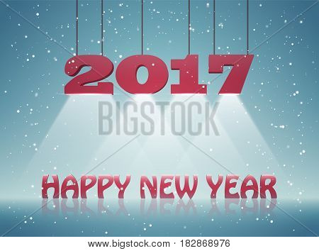 Happy New Year 2017 greeting card design for you. Vector illustration