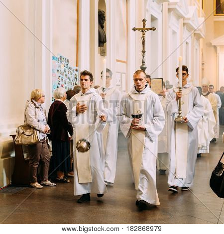 Vilnius, Lithuania - July 6, 2016: Procession in Cathedral Basilica of Saints Stanislaus and Vladislaus during celebration of Statehood Day. Holiday in commemorate coronation in 1253 of Mindaugas King.