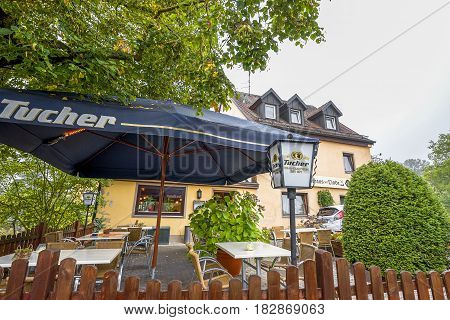 Romantic Road, Germany - September 2016: countryside zimmer with a restaurant welcoming tourists