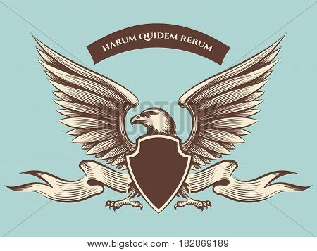 Vintage american eagle mascot vector icon. Eagle with shield, wings and ribbon