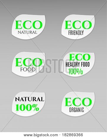 Vector blank shape white leaf eco paper plastic advertising price wobbler front view. Isolated on background. Advertising price stickers for organic natural food and goods.Vector illustration