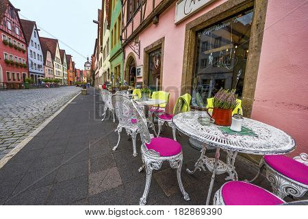 Rothenburg ob der Tauber, Germany - September 2017: nice cafe at the town streets