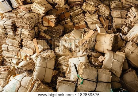 Paper Waste Background. Many Keeping Records In Heap.