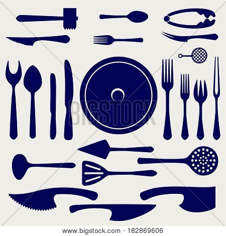 Crockery vector icons set. Spoon, knifes, forks, dish and other kitchen elements on grey background
