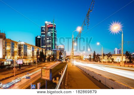 Minsk, Belarus - April 3, 2017: Night Traffic On Illuminated Street Pobediteley Avenue In Minsk.