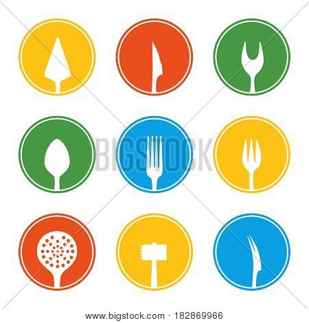 Fork, knife, spoon and other cutlery icon set in flat style. Vector illustration