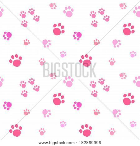 Paw print seamless pattern. Cute pink paw prints isolated on white background.