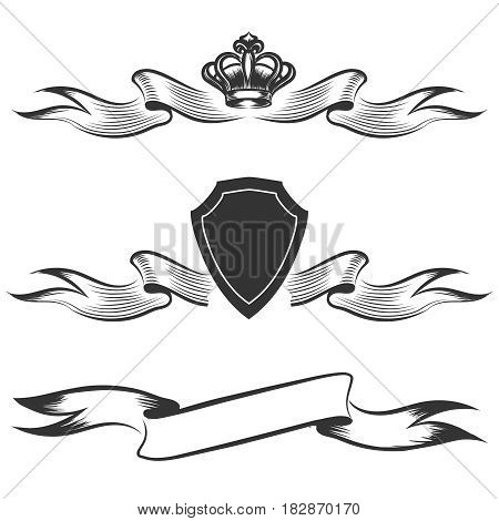 Hand drawn banners set. Ribbon with crown and shield isolated on white background. Vector illustration