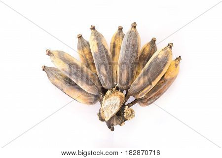 overripe banana isolated on white background,not healthy concept