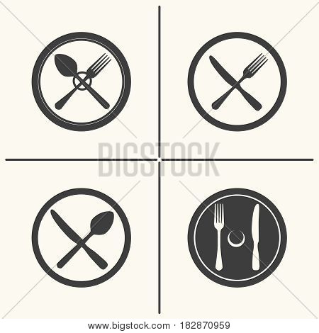Plate, fork, knife and spoon icons. Vector cutlery flat icon set