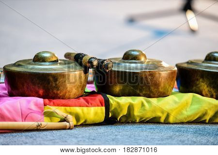 Indonesian ancient folk musical instruments. Close-up photography.