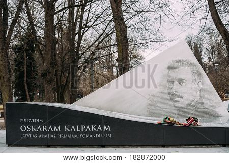 Riga, Latvia - December 13, 2016: Monument To Oskars Kalpaks Is A Sculptural Monument To Commander Of 1st Latvian Independent Battalion, Also Known As Kalpaks Battalion , Installed In Esplanade Park