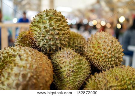 close up smelly durian fruit in street food thailand