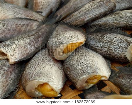 dried salted Snakeskin gourami fish. Preserves food.