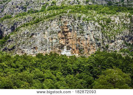 Panorama of Christian monastery Ostrog in Montenegro
