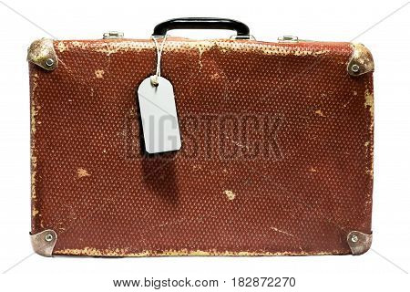 Old vintage suitcase on a white background. Isolated