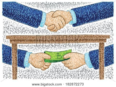 Illustration Of Hands Bribing