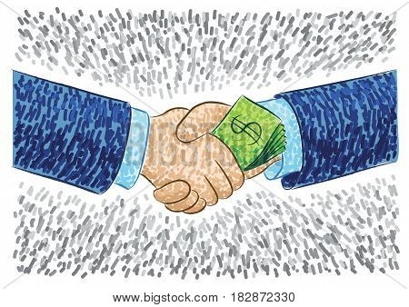 Illustration Of Hands Bribing
