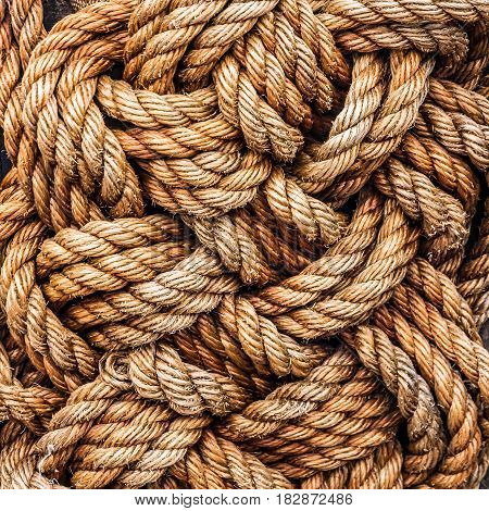 ropes jute tackle background natural texture view