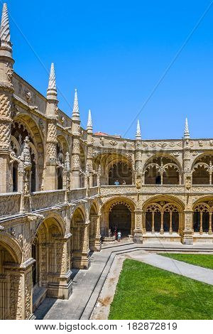 Lisbon, Portugal - March 2, 2017: Monastery of Jeronimos (Mosteiro dos Jeronimos)