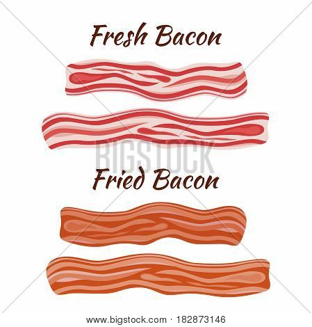 Two types of bacon, pork - fresh and fried. Made in cartoon flat style. Healthy tasty breakfast.
