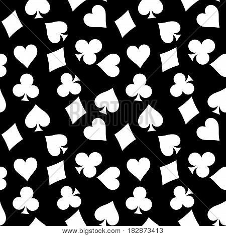 Seamless pattern background of white poker suits - hearts, clubs, spades and diamonds - on black background. Casino gambling theme vector illustration.