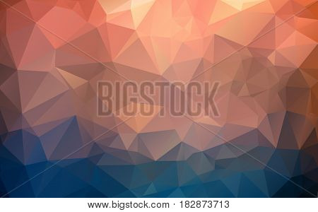 Abstract Background Made Of Small Multicolor Triangles. Red, Blue, Purple