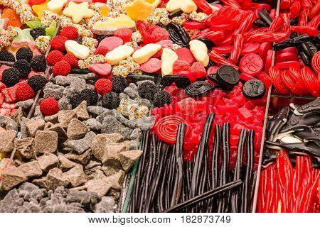 Сandy sweet delights on market Mercat de la Boqueria, Barcelona (Sant Josep)