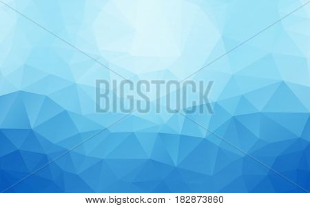 Abstract Background Made Of Small Multicolor Triangles. Stretch Blue White