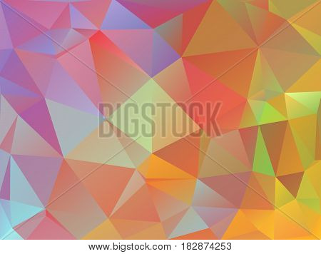 Abstract Background Made Of Small Multicolor Triangles. Lilac, Purple, Green, Red, Blue