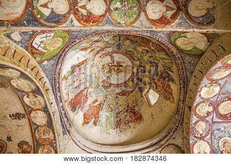 Cappadocia, Turkey - April 4, 2017: Fresco in cave orthodox church El Nazar, Turkey