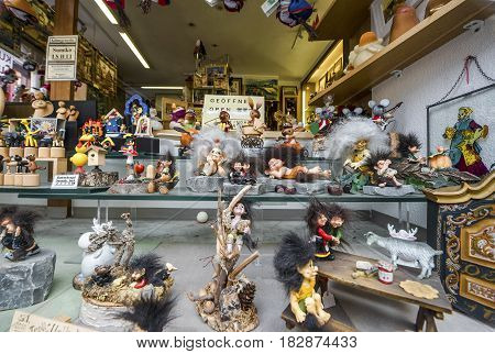 Rothenburg ob der Tauber, Germany - September 2017:  shop window at the town streets