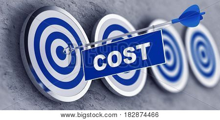 COST concept with a banner on an arrow penetrating the center bulls eye on a target. 3d Rendering.
