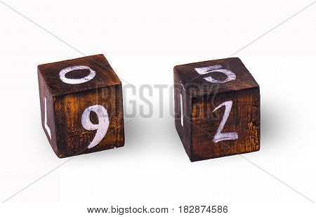 Wooden cubes with figures on white background