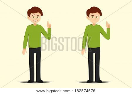 boy pointing finger up vector illustration isolated elements on white background . young man drew attention to something or warns with a serious face