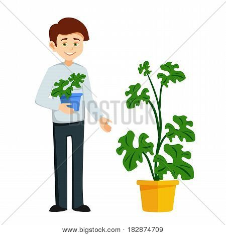 boy with flower pot. cartoon boy holding a flower in a pot. the character of florist in flat style. vector illustration isolated on white background