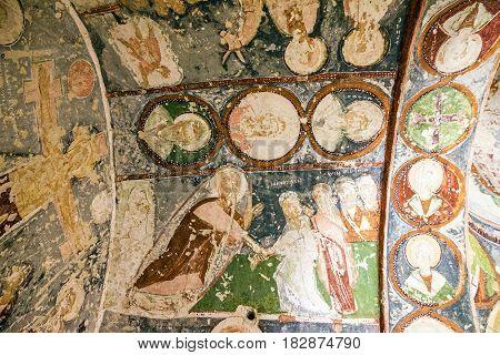 Cappadocia, Turkey - March 23, 2017: Fresco in cave orthodox church El Nazar, Cappadocia, Turkey