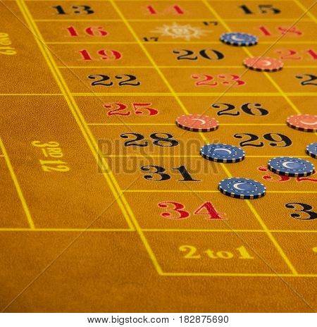 Table in gambling casino, game table view