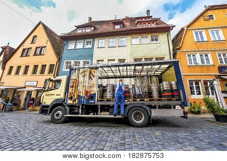 Rothenburg ob der Tauber, Germany - September 2017:  beer truck at the town streets