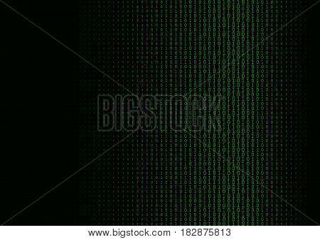 Binary code black and green background with two binary digits, 0 and 1 isolated on a black background. Halftone vector illustration.