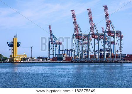 Port cranes in sea port Odessa, Ukraine