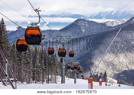 Cable car in Jasna winter resort Slovakia