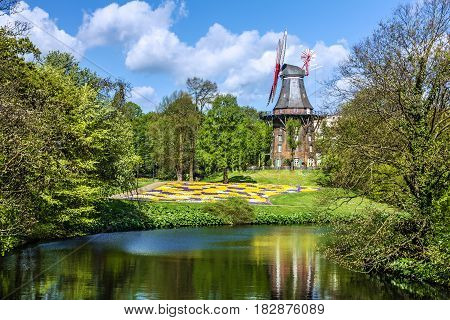 Mill in park Bremen town, Germany natural landscape