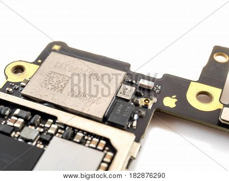 Chiang Rai Thailand: April 8 2017 - Close-up image of Wi-Fi IC chip on Apple iPhone 6 or iPhone 6plus logic board. Selective focus