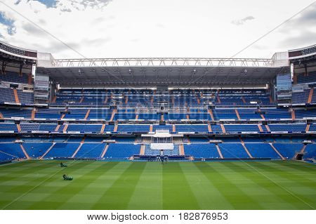 MADRID SPAIN - MAY 14 2009: Santiago Bernabeu Stadium of Real Madrid on May 14 2009 in Madrid Spain. Real Madrid C.F. was established in 1902. It is the best club of XX century.
