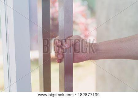 Hand Holding Door Knob, Opening Door, Selective Focus