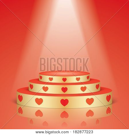 Golden vector stage with stairs and red hearts, isolated on a red background. Romantic scene with lighting and reflection.
