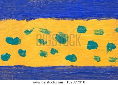 Beautiful unique background acrylic paint, handmade,Blue frame on yellow and green spots