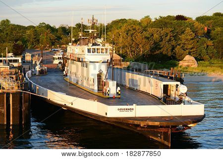 WOODS HOLE, MA, USA - JULY. 4, 2015: Martha's Vineyard Ferry Governor at port of Woods Hole in Falmouth, Massachusetts, USA.
