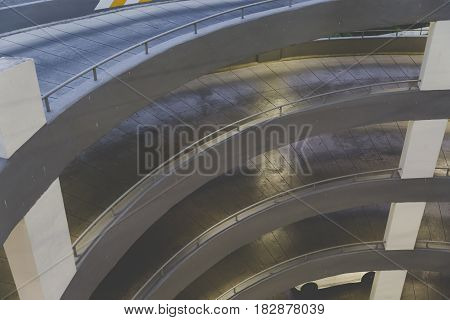 Circular ramp in the multi Level parking garage
